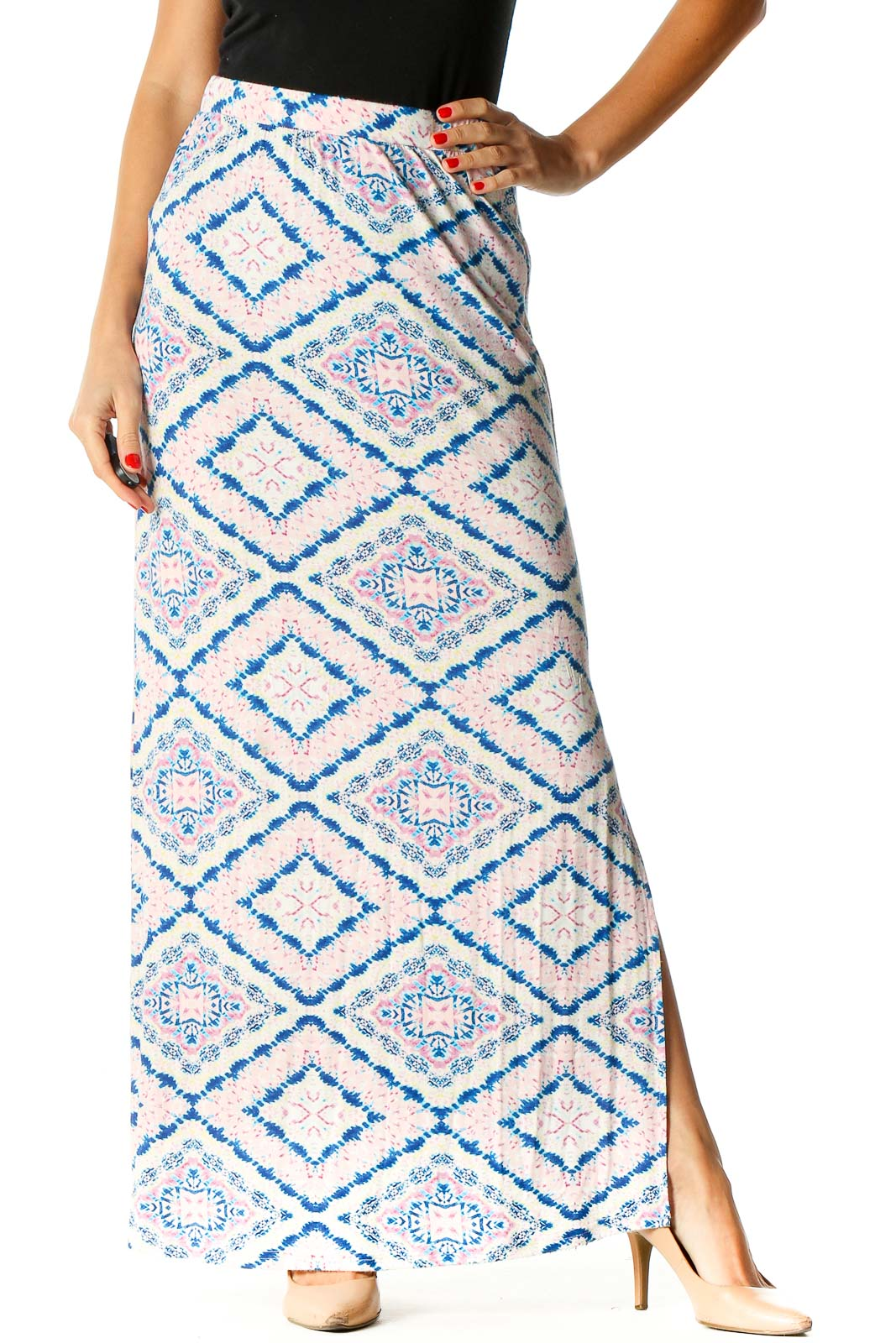 Blue Printed Holiday A-Line Skirt Front