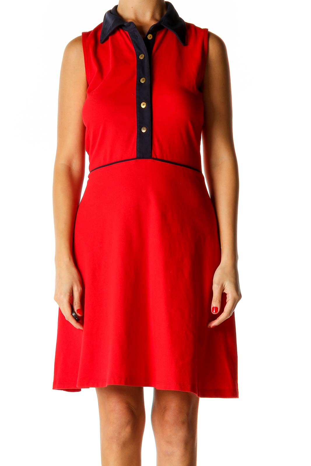Red Solid Fit & Flare Dress Front