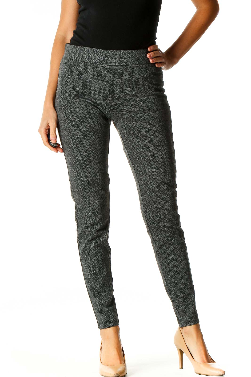 Gray Textured Casual Leggings Front