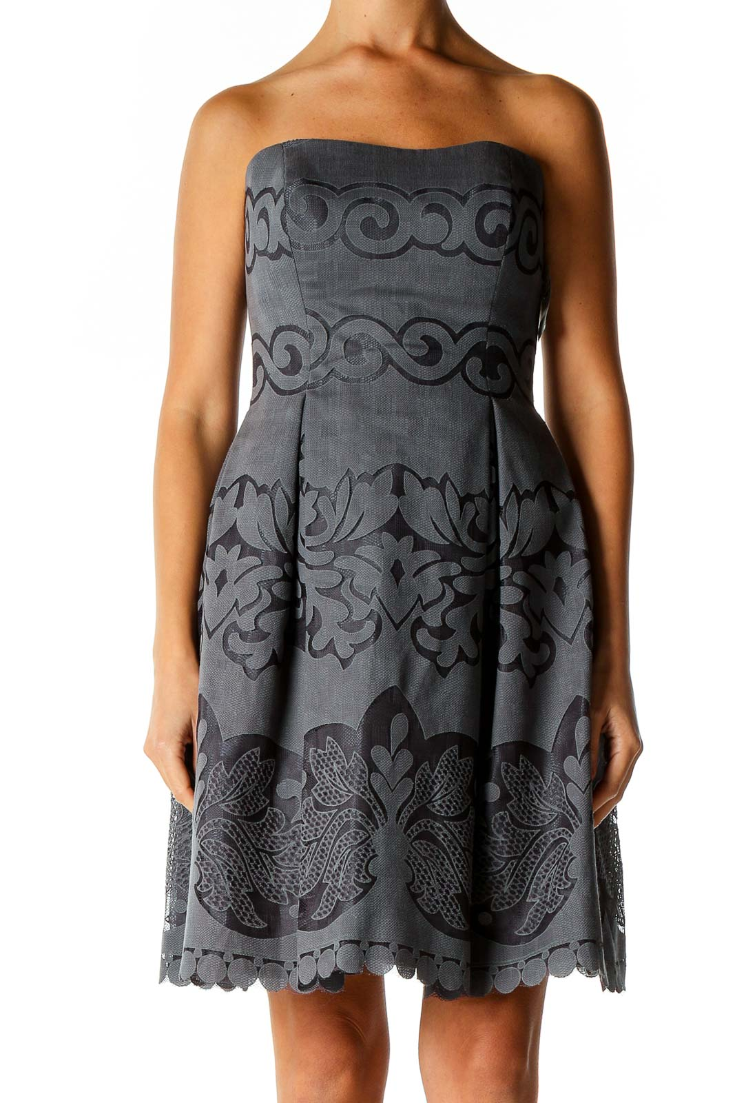 Gray Textured Holiday Fit & Flare Dress Front