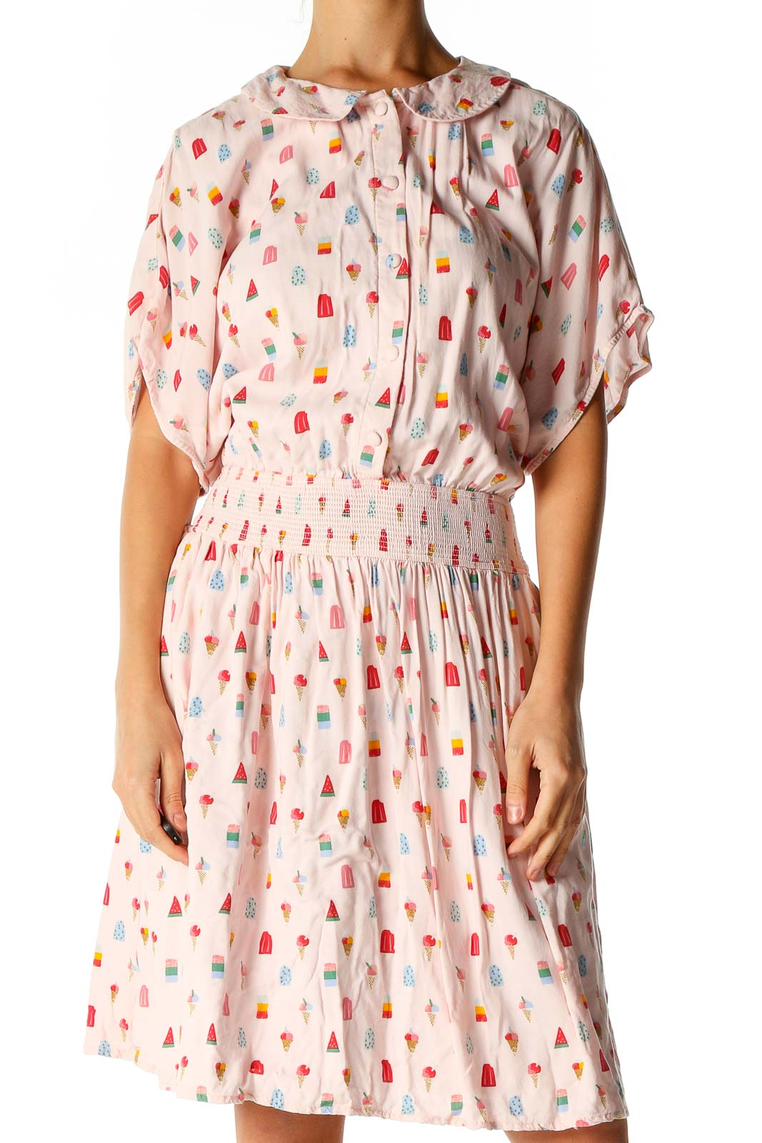 Pink Retro Fit & Flare Dress Front