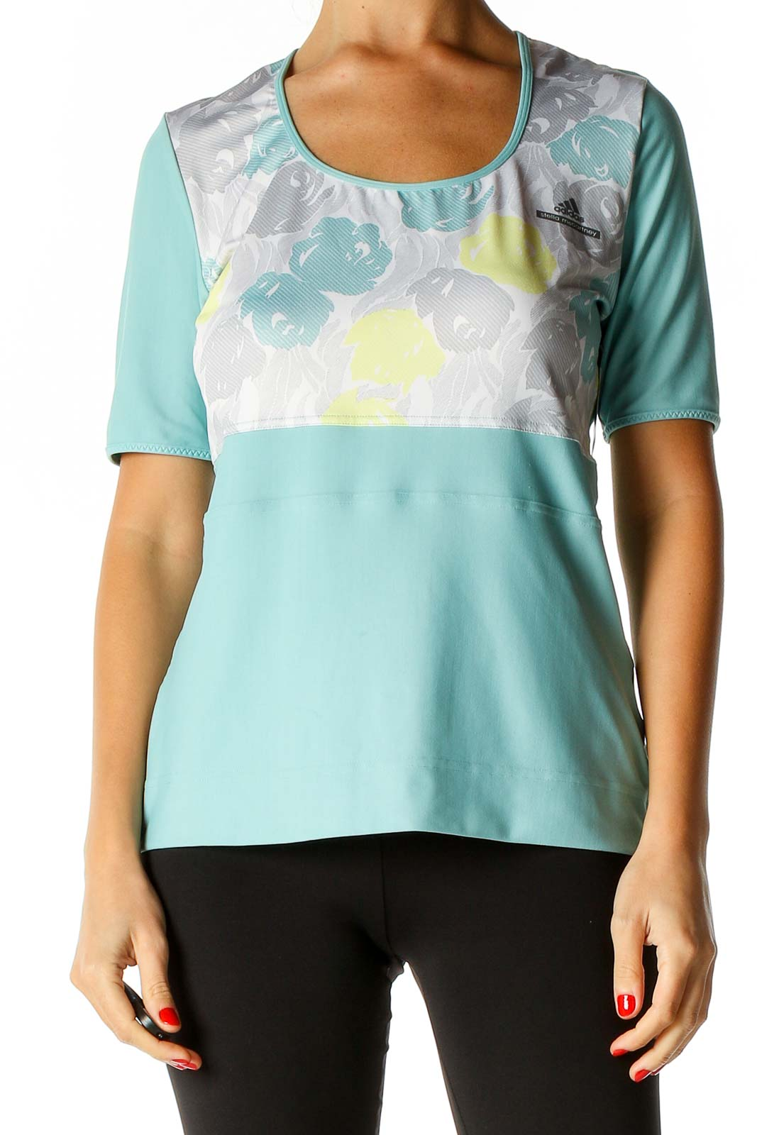 Blue Printed Activewear T-Shirt Front