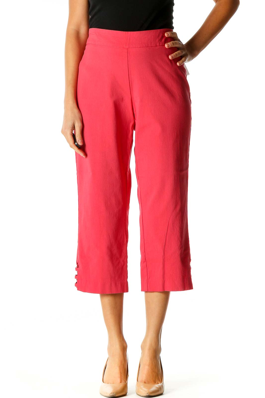 Pink Solid All Day Wear Capri Pants Front