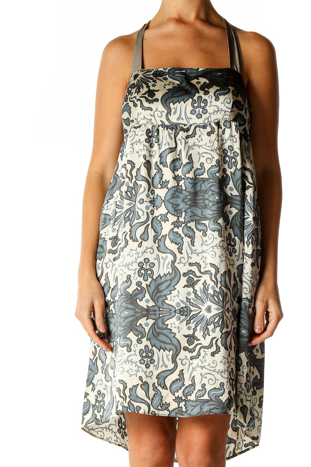 Beige Graphic Print Holiday A-Line Dress Front