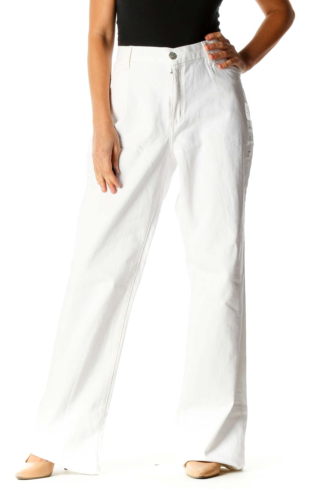 White Bootcut Jeans Front
