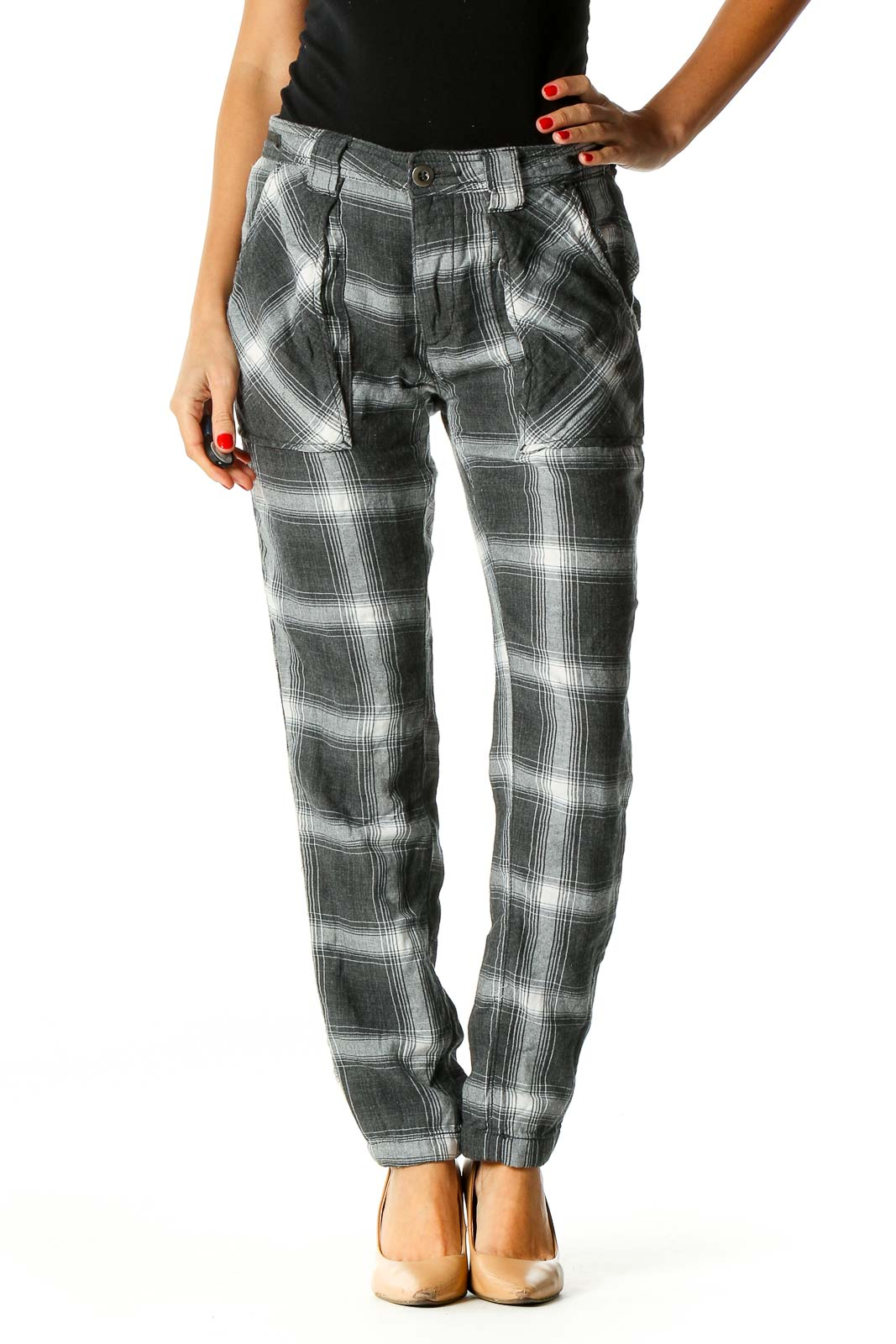Gray Printed All Day Wear Leggings Front