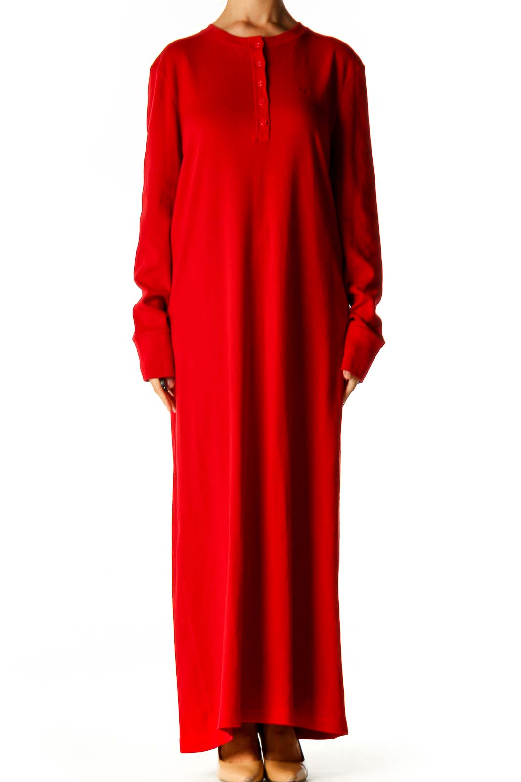 Red Solid Classic Column Dress Front