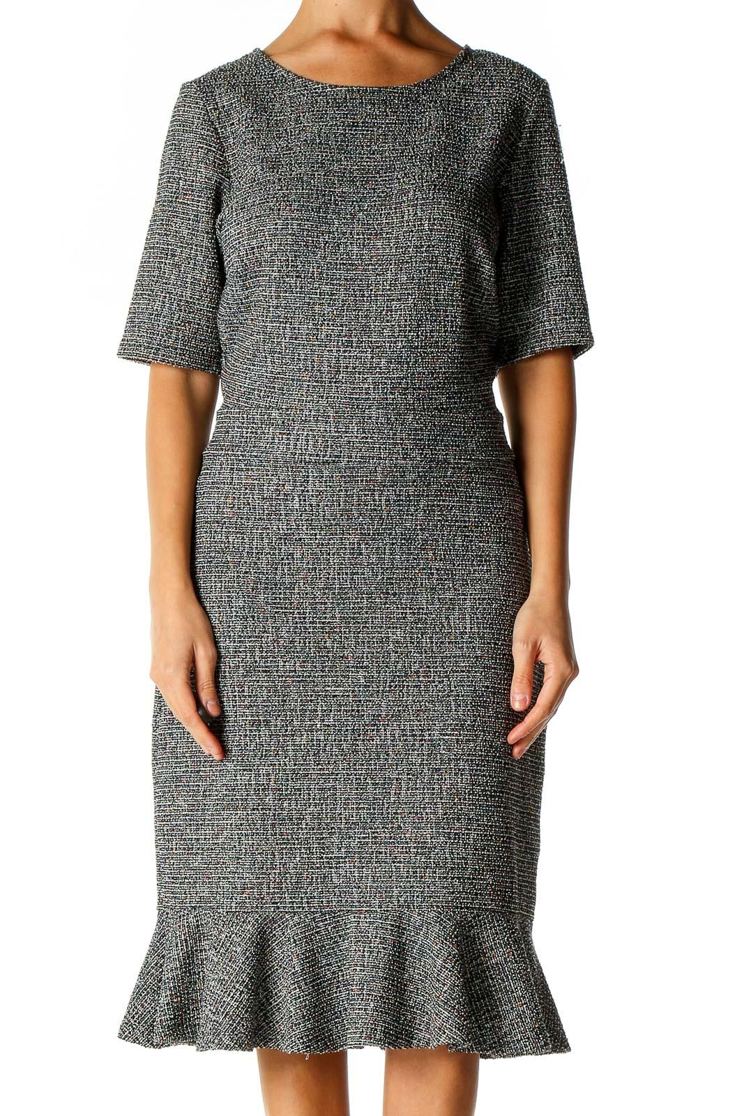 Gray Textured Work Sheath Dress Front