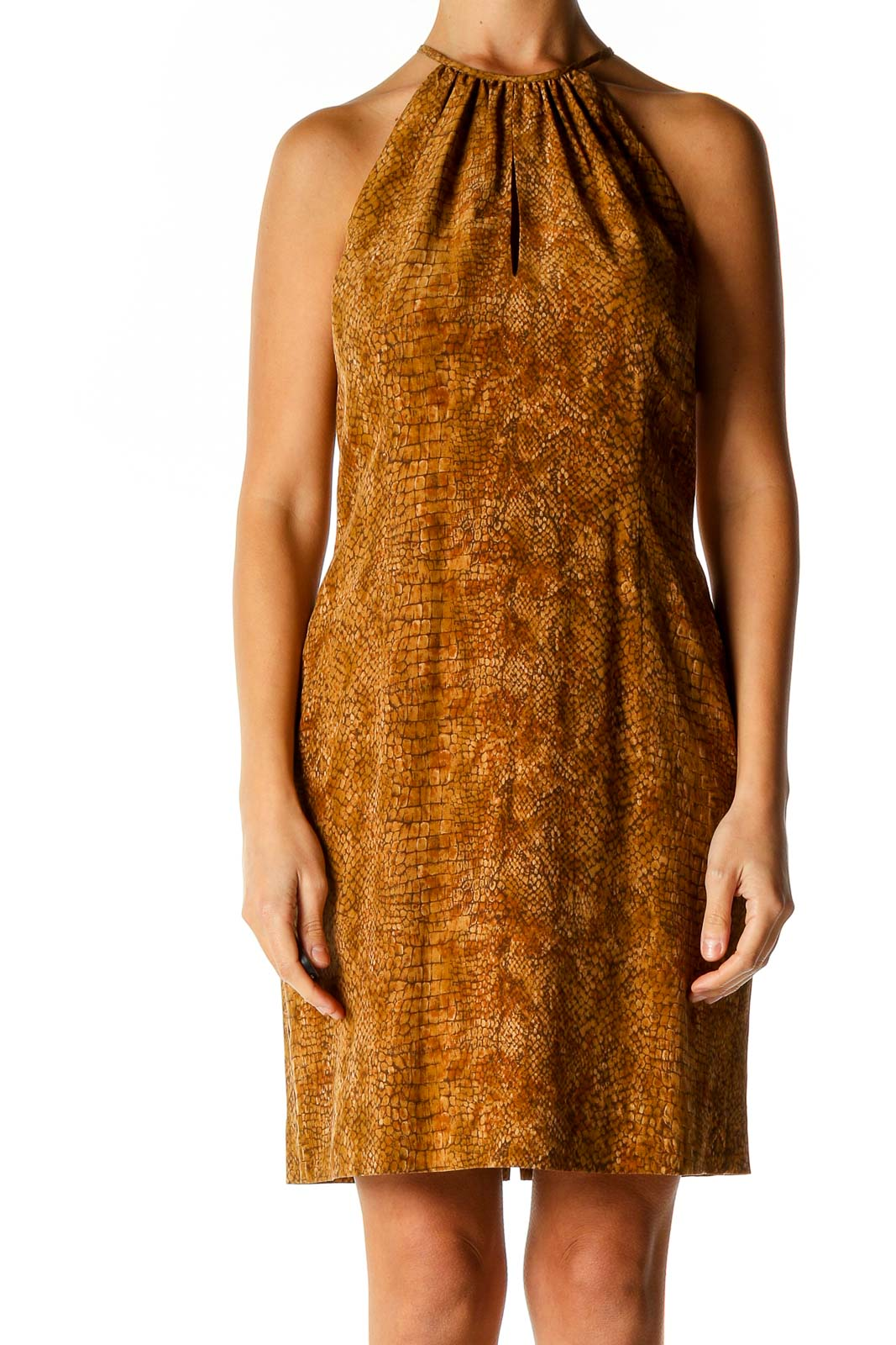 Brown Animal Print Cocktail A-Line Dress Front