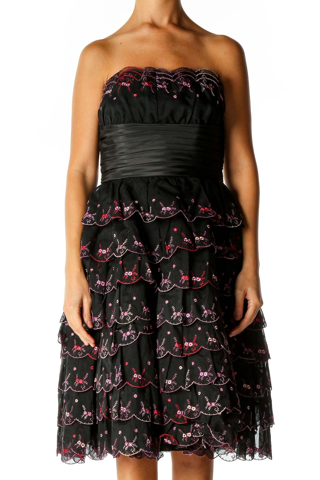 Black Textured Punk Fit & Flare Dress Front