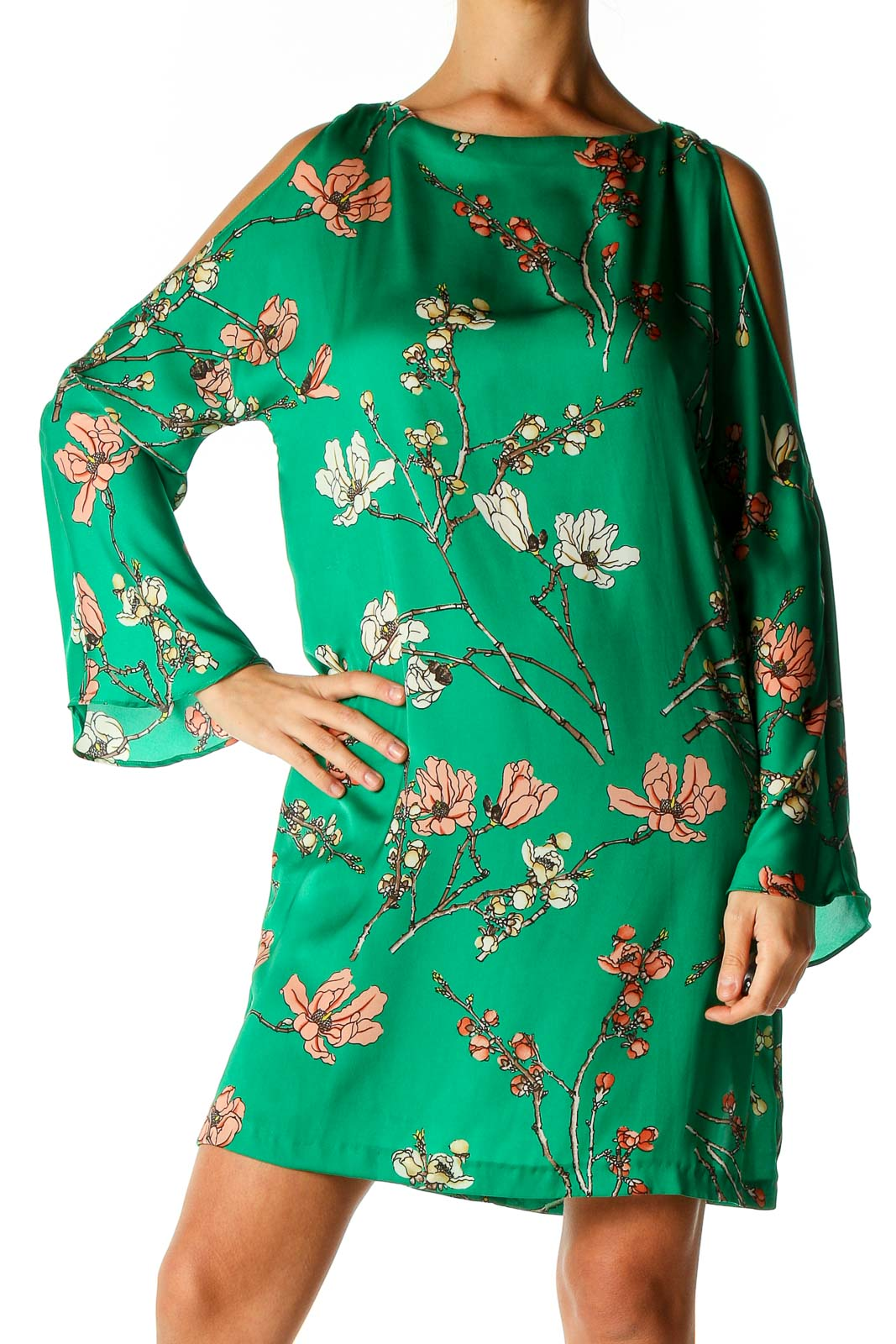 Green Floral Print Day A-Line Dress Front