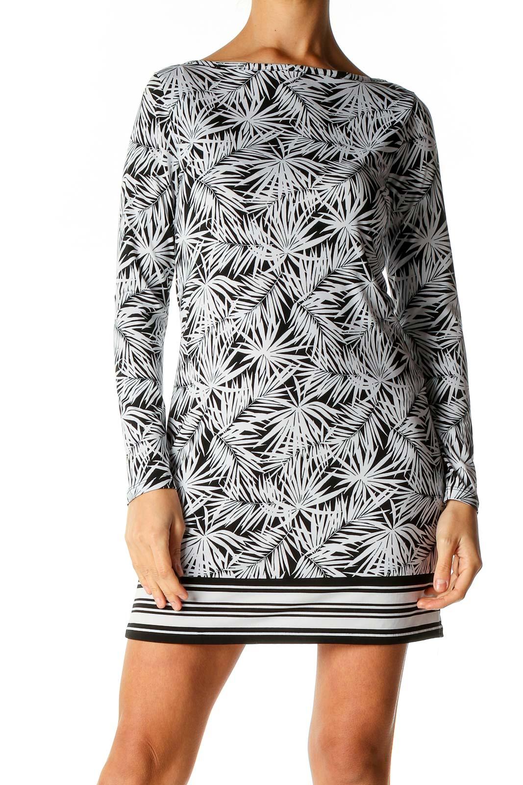 Black Tropical Print Holiday Shift Dress Front