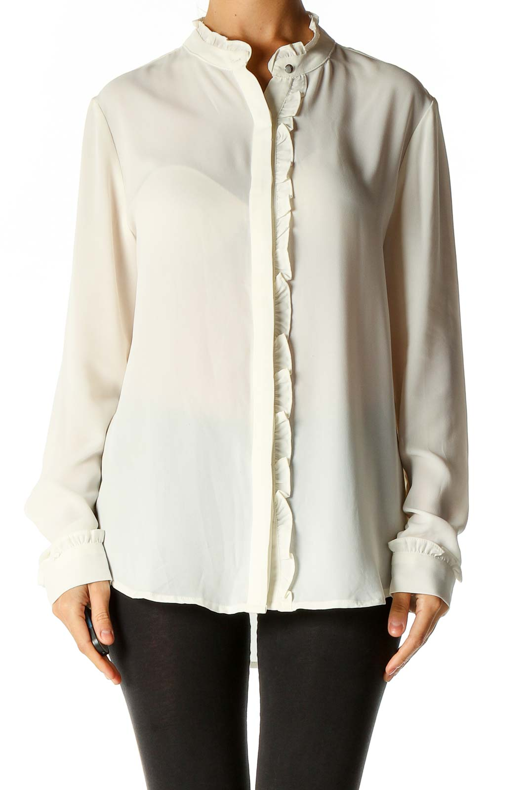 White Solid Brunch Blouse Front