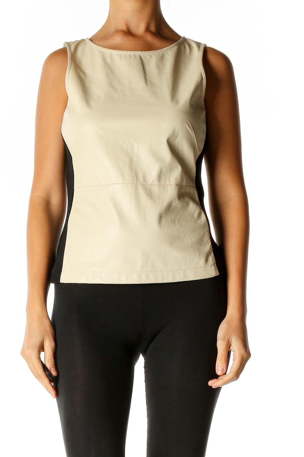 Beige Solid Chic Blouse Front