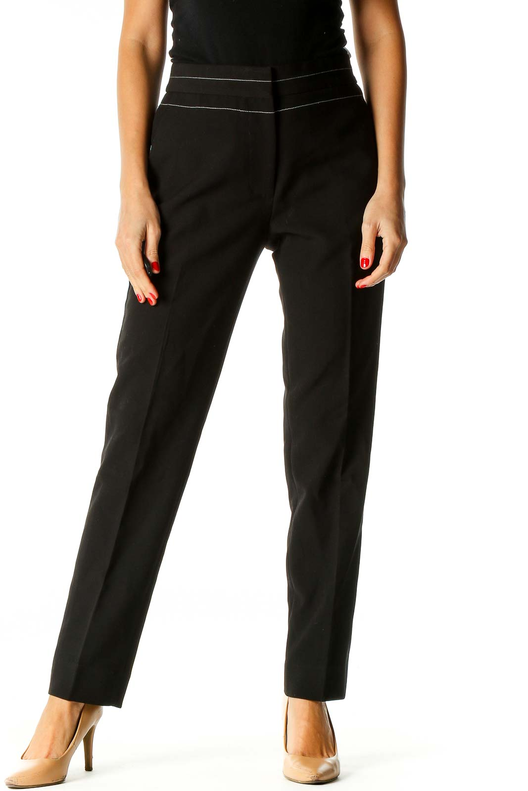 Black All Day Wear Trousers Front