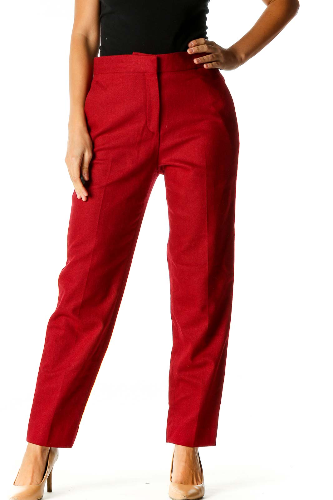Red Solid Classic Trousers Front