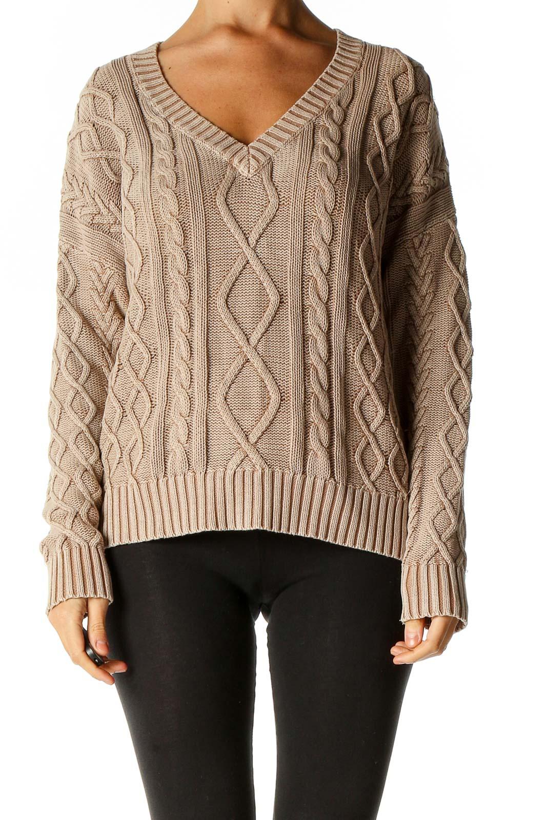 Beige Textured Sweater Front