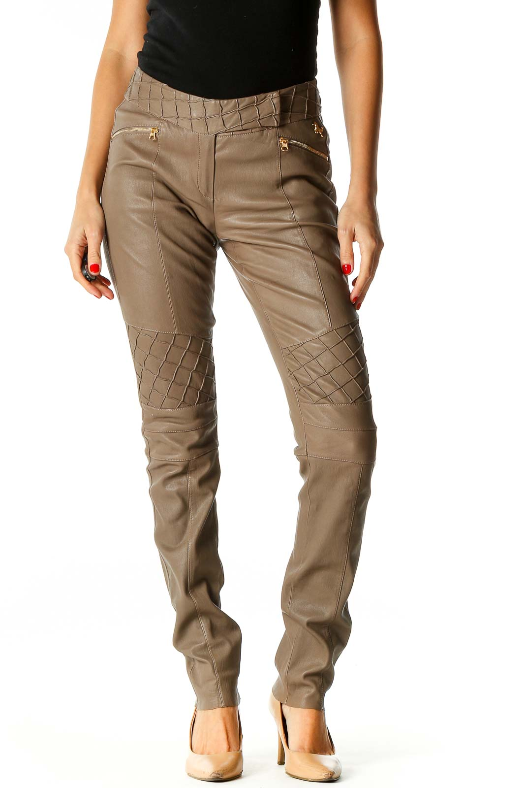 Brown All Day Wear Cargos Pants Front