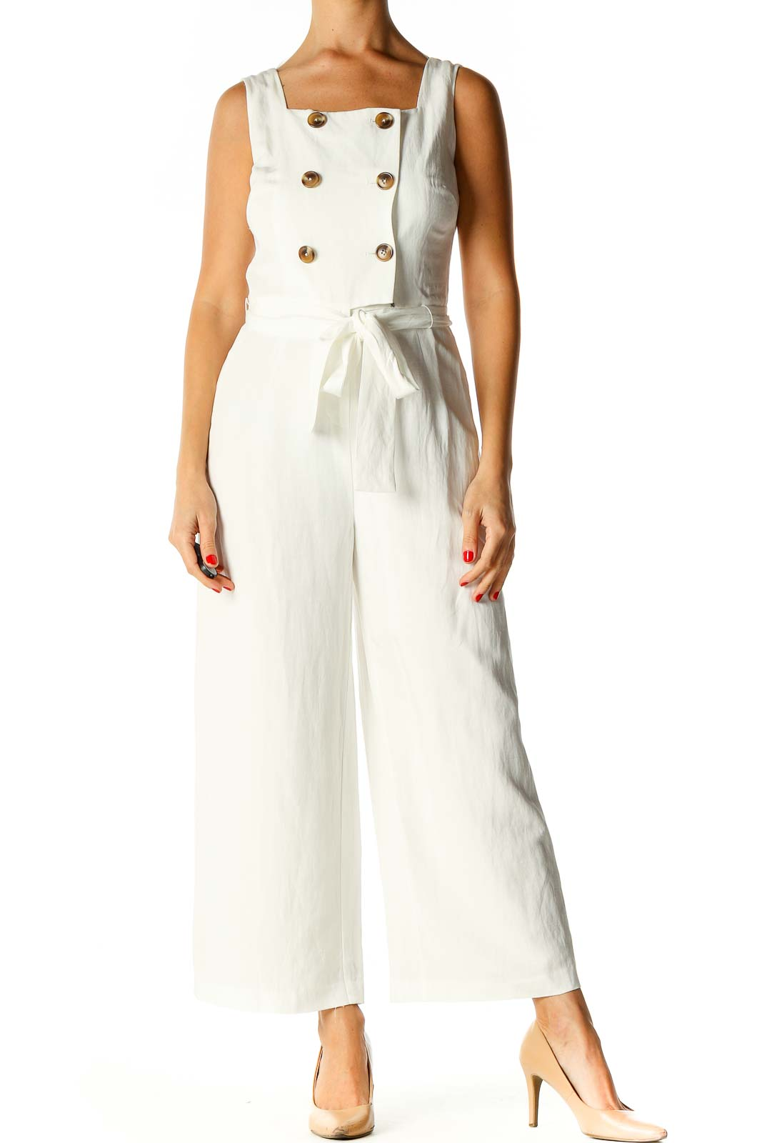 White Solid Jumpsuit Front