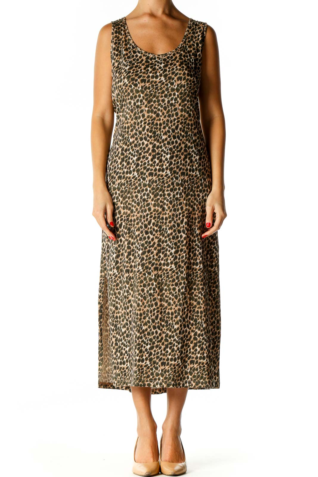 Brown Floral Print Bohemian Sheath Dress Front