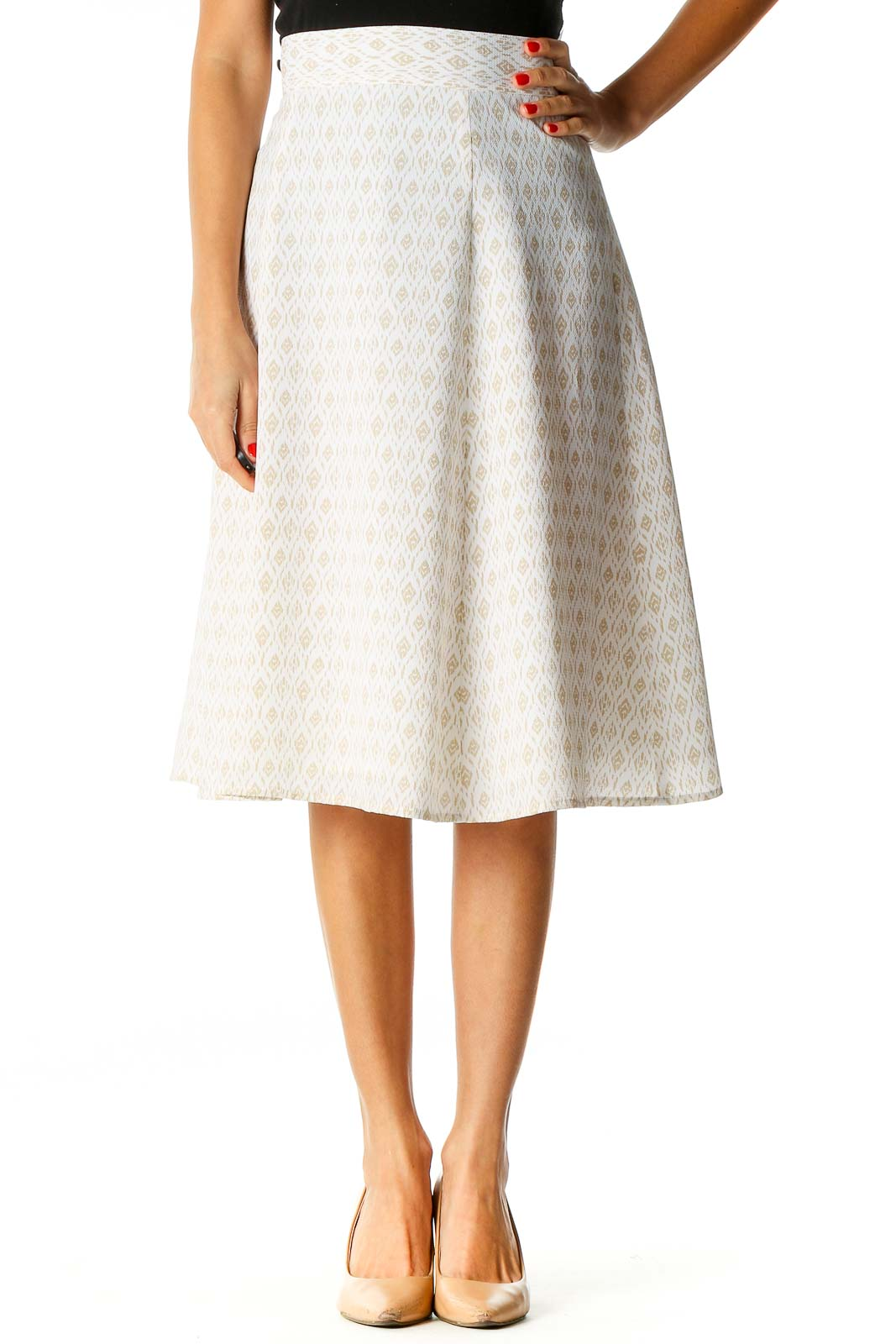 White Brunch Flared Skirt Front