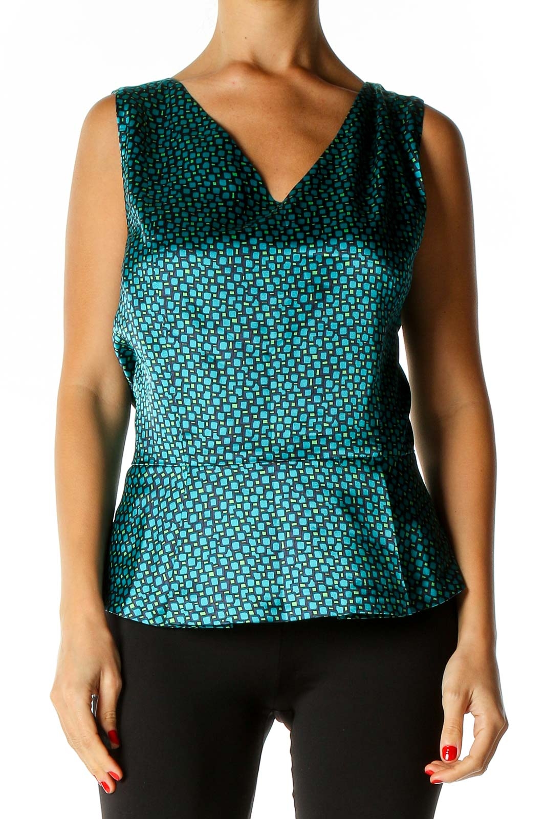 Blue Printed Casual Tank Top Front