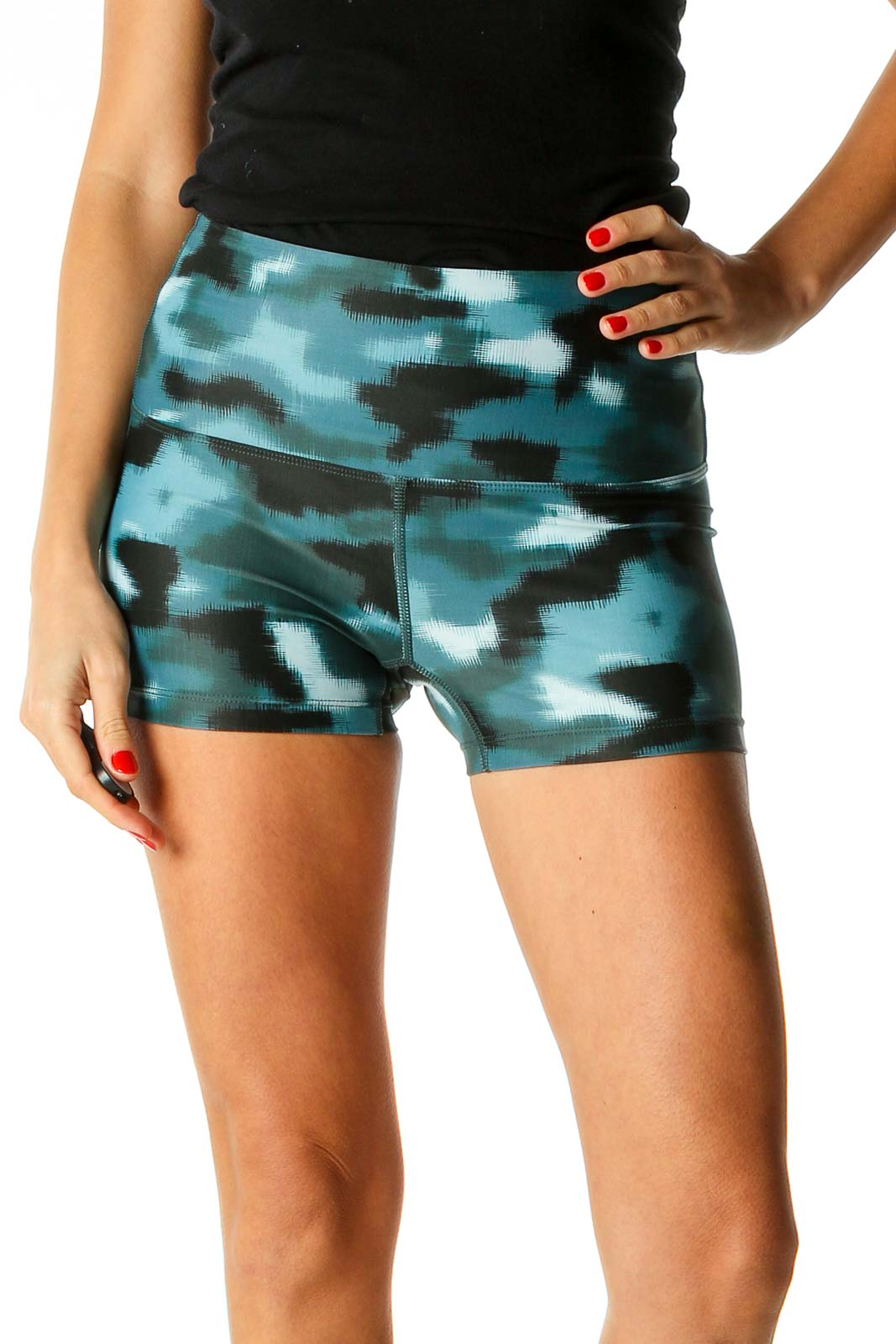 Blue Printed Activewear Shorts Front