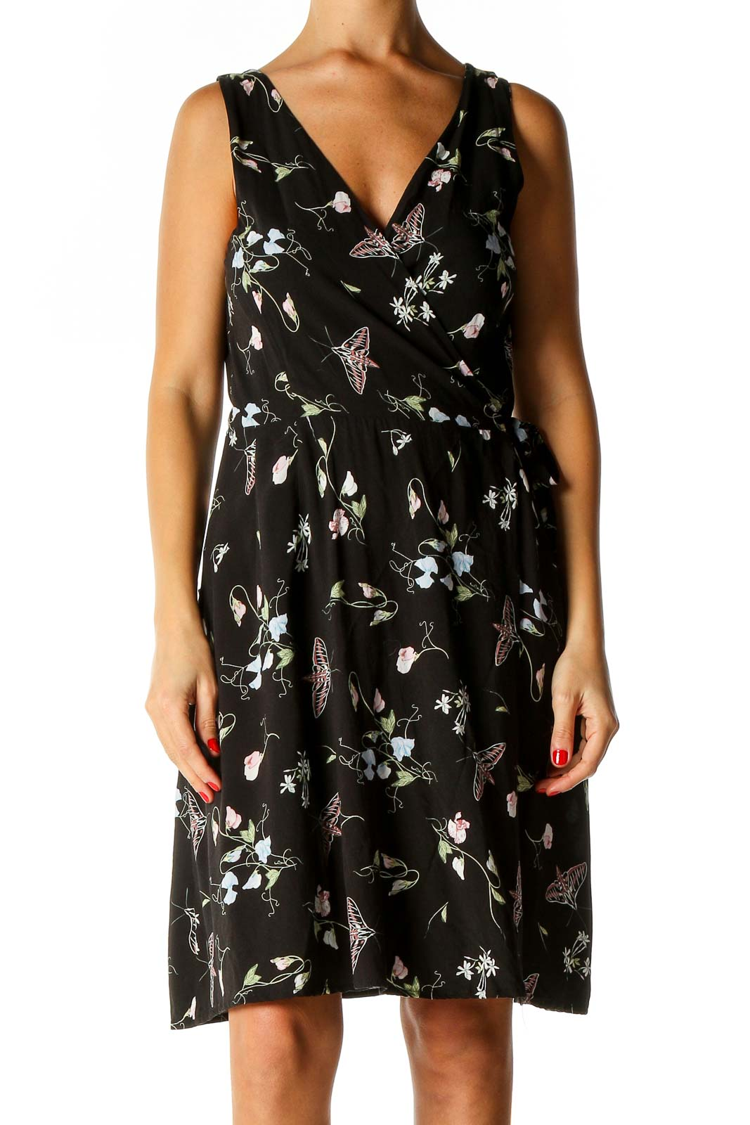 Black Holiday Fit & Flare Dress Front