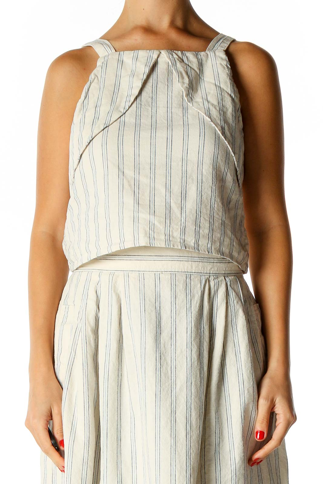 Beige Striped Chic Blouse Front