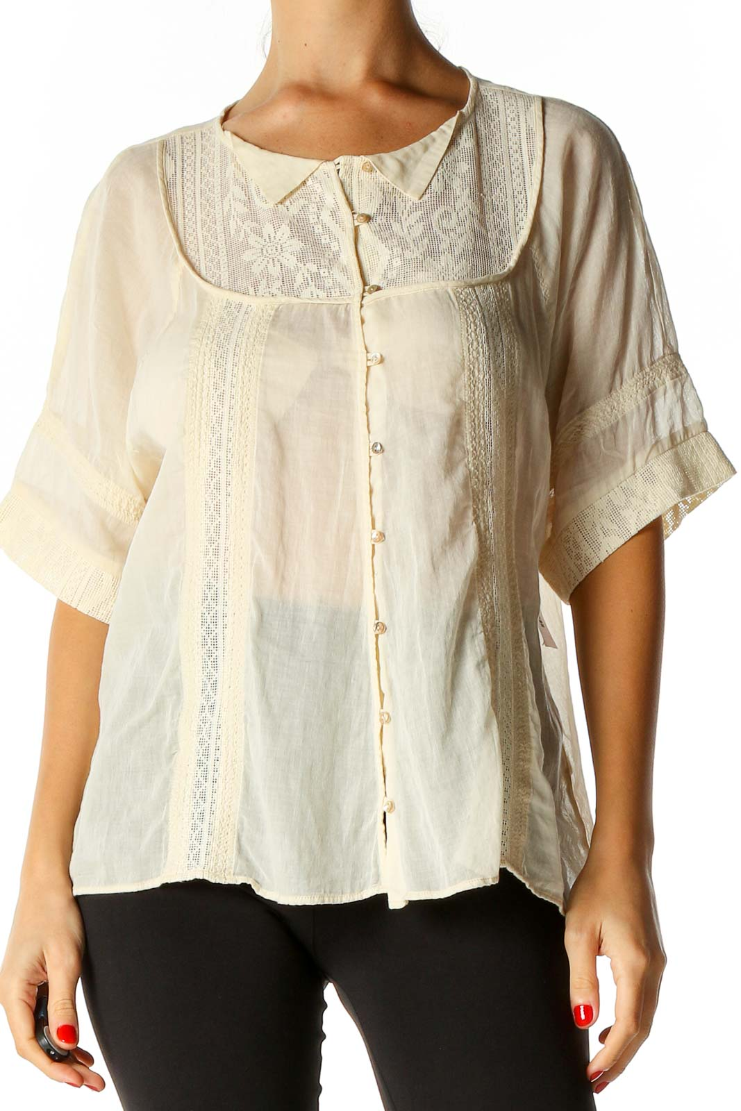 Beige Solid All Day Wear Shirt Front