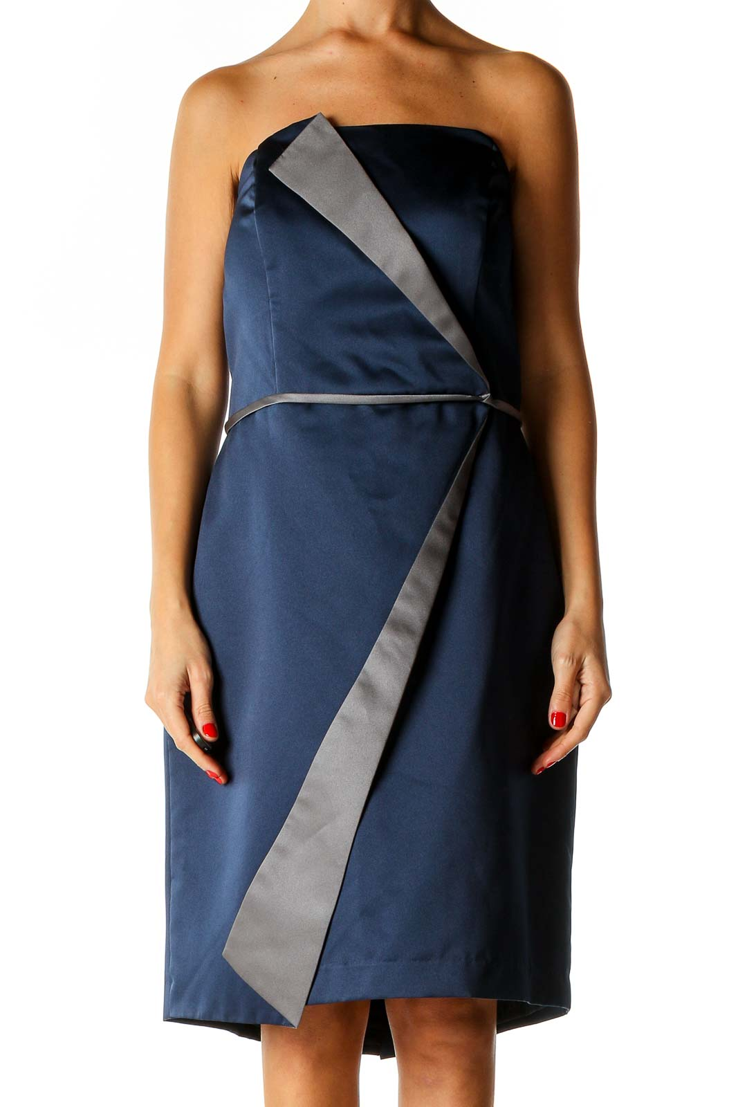 Blue Solid Cocktail Shift Dress Front