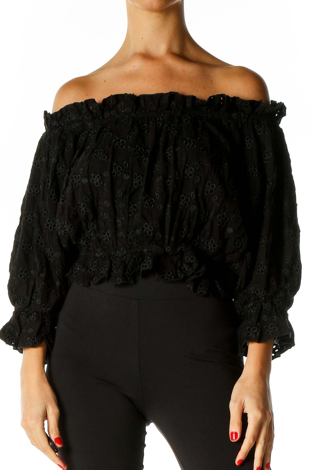 Black Lace Retro Blouse Front