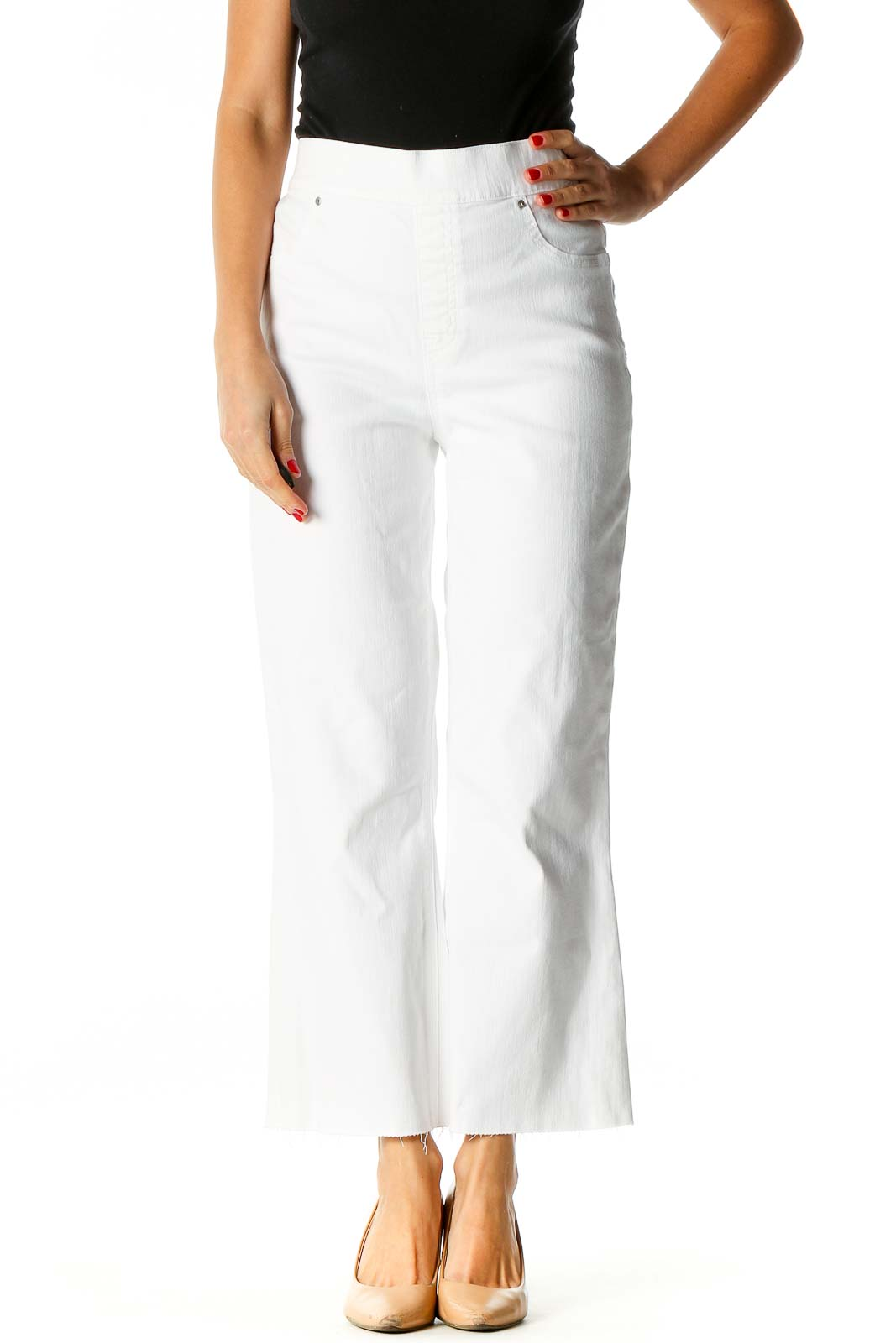 White Distressed All Day Wear Jeans Front