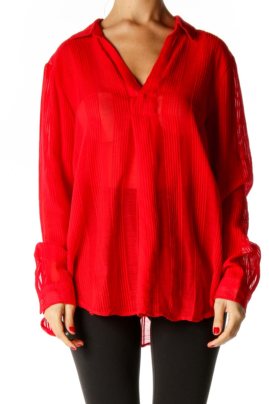 Red Solid Holiday Blouse Front