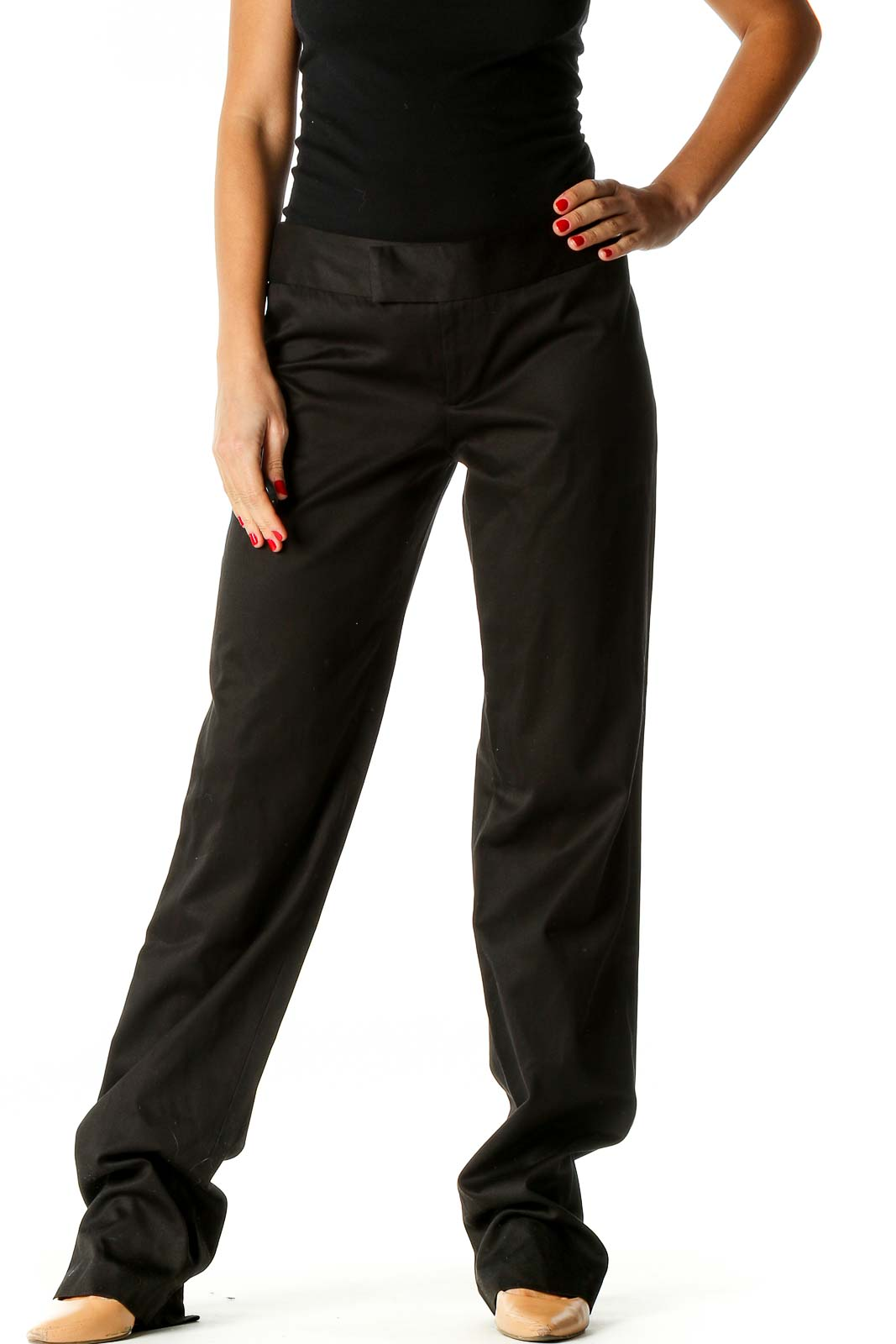 Black Solid Semiformal Trousers Front