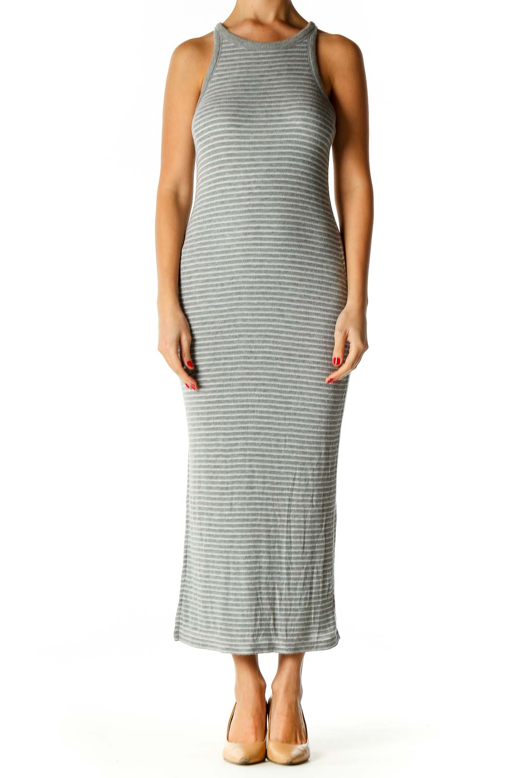 Green Textured Classic Column Dress Front