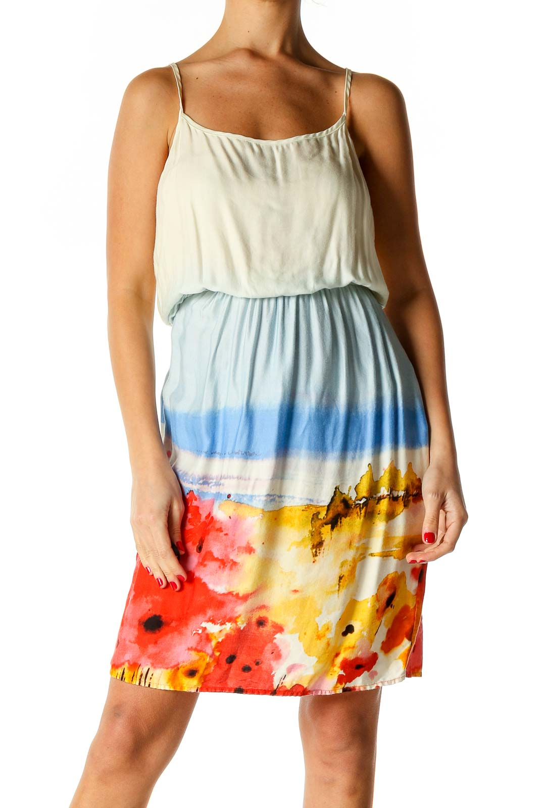 White Floral Print Holiday Fit & Flare Dress Front