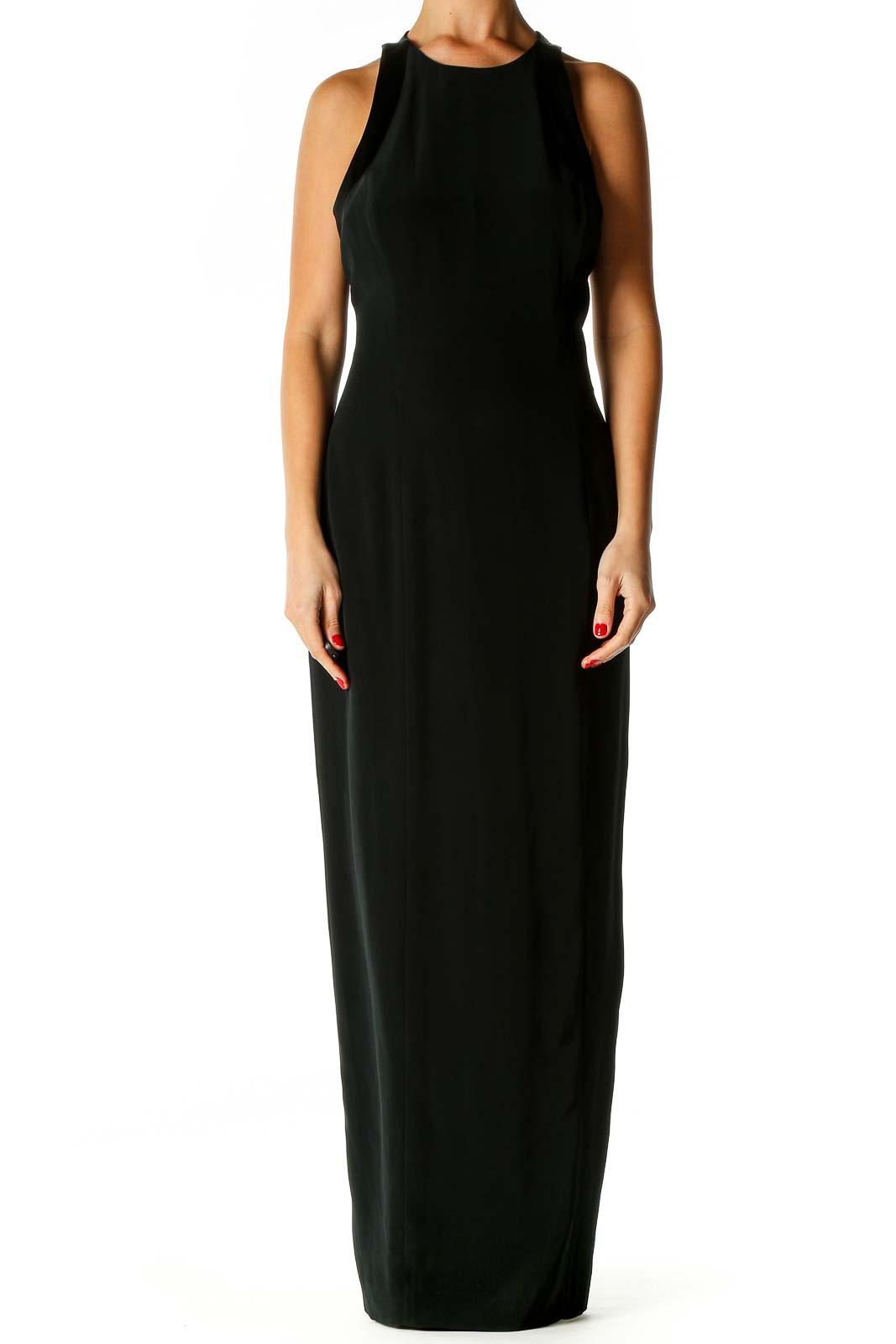 Black Solid Classic Column Dress Front