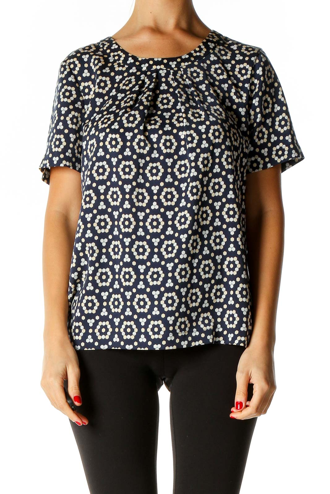 Blue Geometric Print All Day Wear Blouse Front