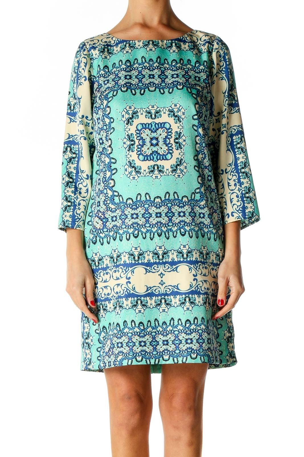 Yellow Aztec Print Bohemian Shift Dress Front