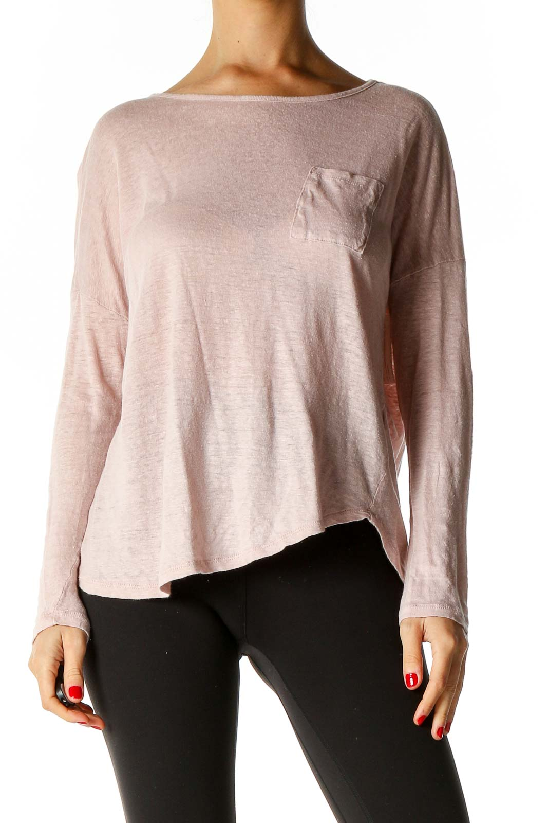 Pink Solid All Day Wear Blouse Front
