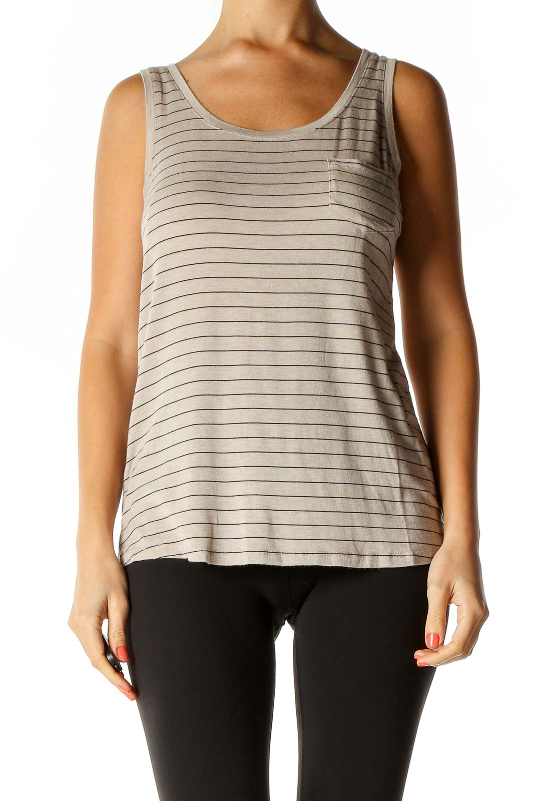 Beige Striped Casual Tank Top Front