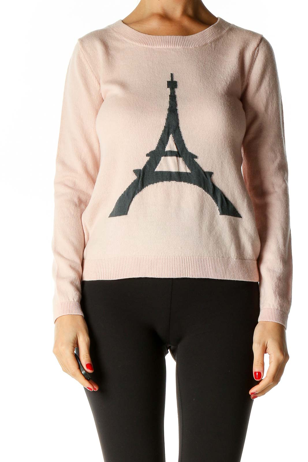 Pink Graphic Print All Day Wear Sweater Front