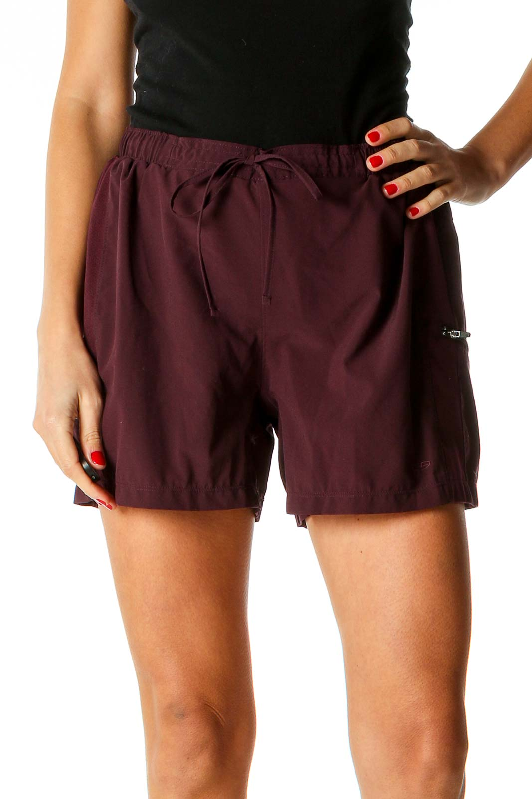 Red Solid Activewear Shorts Front
