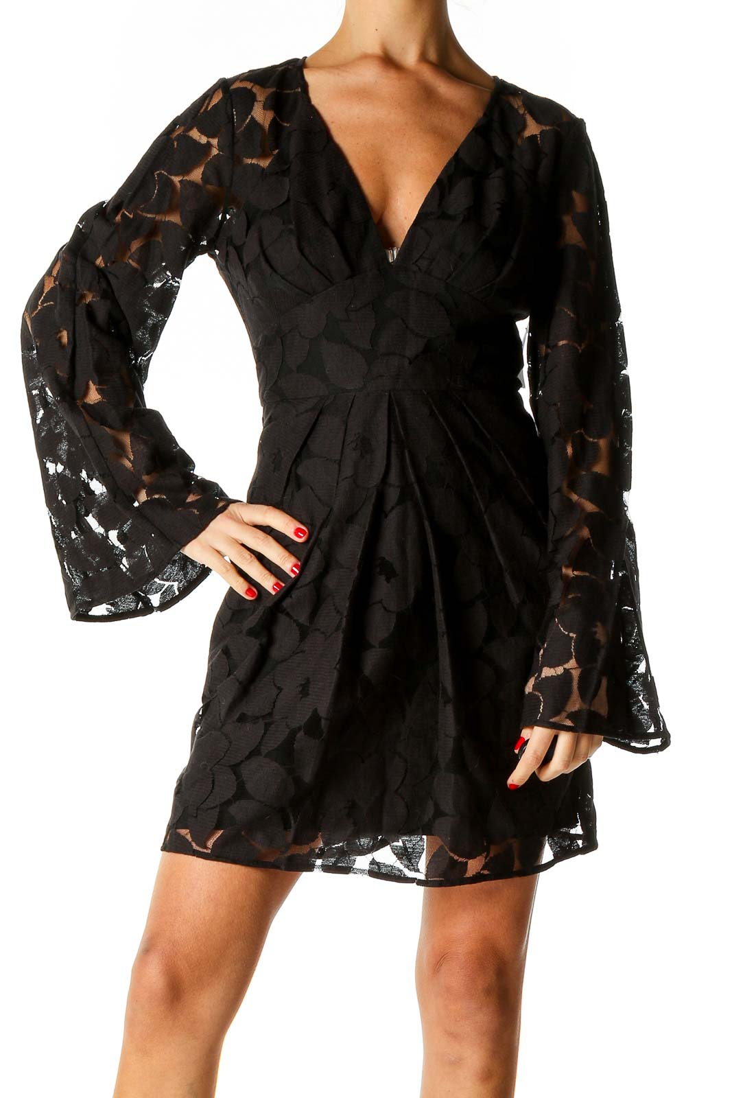 Black Solid Retro Fit & Flare Dress Front