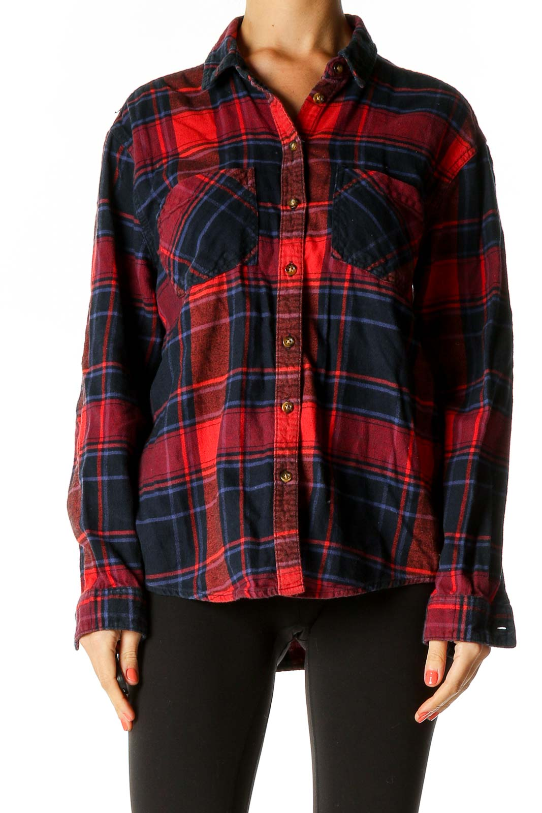 Red Checkered All Day Wear Shirt Front