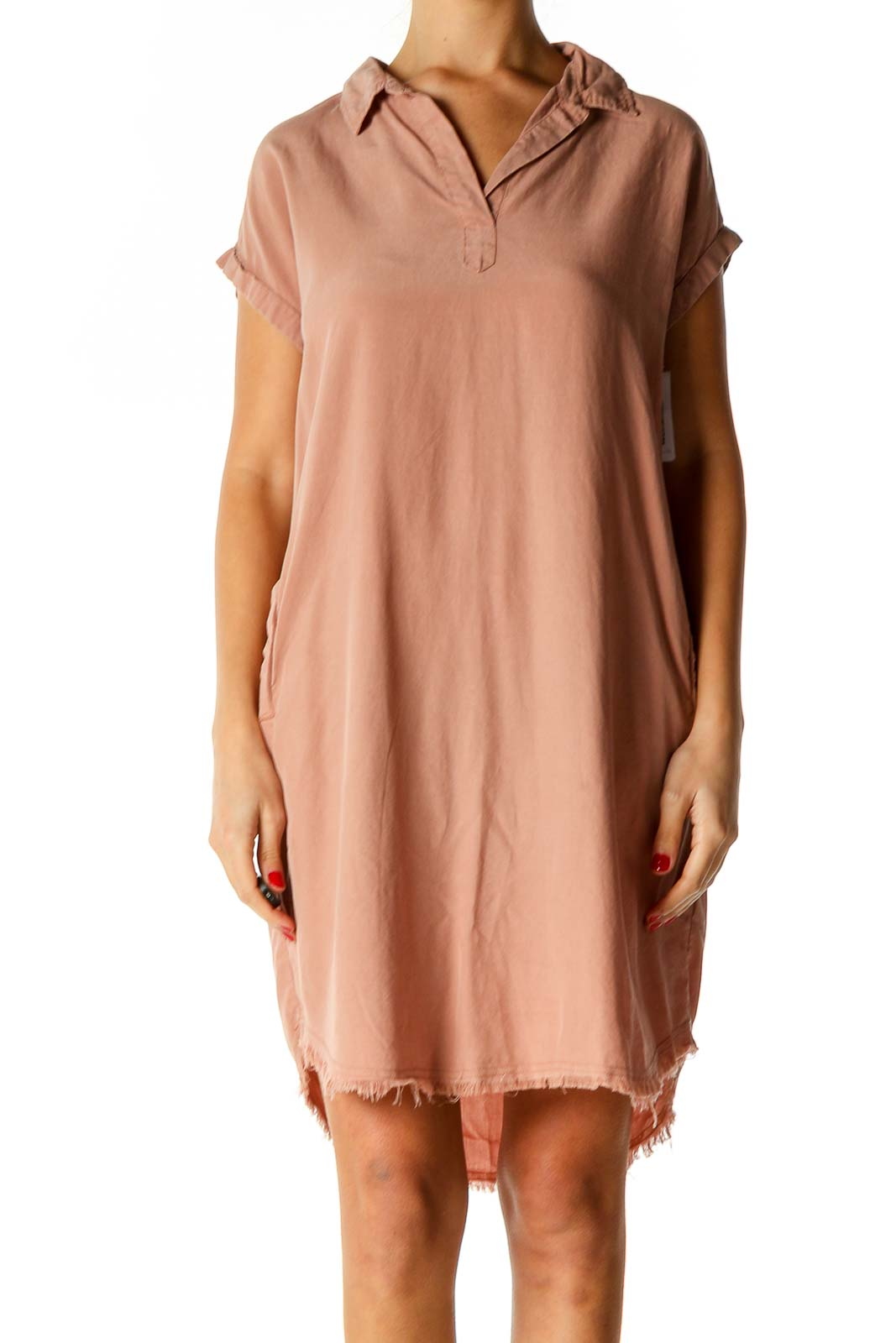 Pink Solid Day Shift Dress Front