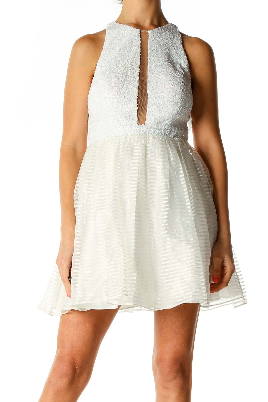 White Cocktail Fit & Flare Dress Front