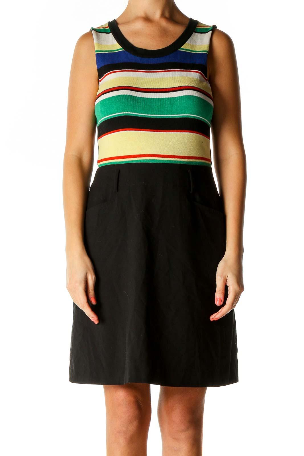 Black Striped Dress Front