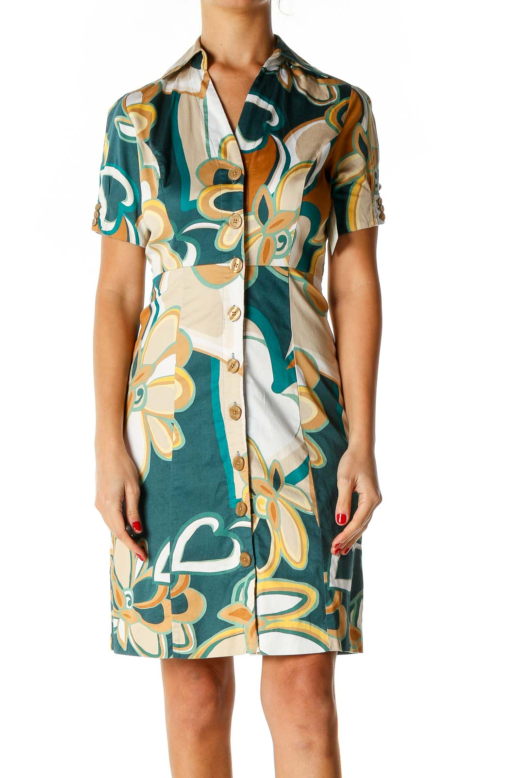 Green Printed Work A-Line Dress Front